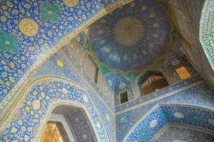 Ceiling of entrance portal in Isfahan blue, Imam Mosque, UNESCO World Heritage Site, Isfahan, Iran, by James Strachan