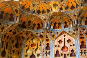Ceiling of The Music Hall of Ali Qapu Palace with early acoustic design, Ali Qapu Palace, Isfahan, by James Strachan