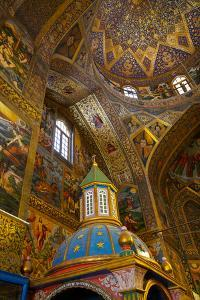 Interior of dome of Vank (Armenian) Cathedral with Archbishop's throne in foreground, Isfahan, Iran by James Strachan