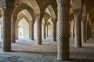 The 48 carved column prayer hall, Masjed-e Vakil (Regent's Mosque), Shiraz, Iran, Middle East by James Strachan