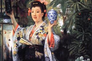 A Young Woman Holds Japanese Goods by James Tissot