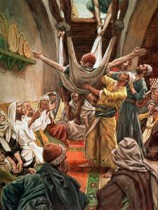 The Palsied Man Let Down Through the Roof, Illustration for 'The Life of Christ', C.1886-94 by James Tissot