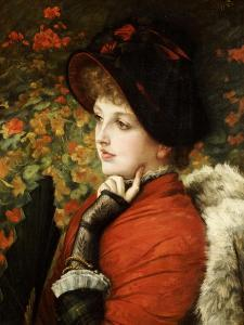 Type of Beauty: Portrait of Mrs. Kathleen Newton, in Red Dress and Black Bonnet by James Tissot