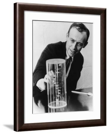 James Watson Watching a DNA Model--Framed Photographic Print