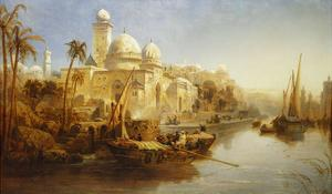 Vessels Moored at the Steps of a Moorish Palace by James Webb