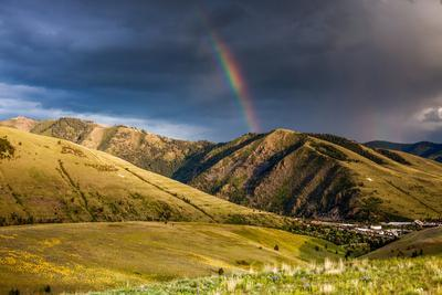 Rainbow at Sunset over Hellgate Canyon in Missoula, Montana
