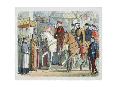 Charles VI of France and Henry V of England welcomed by the clergy, Paris, 1420 (1864)