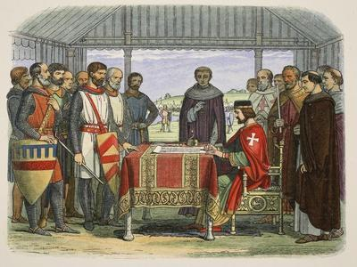 King John Signs the Great Charter, from a Chronicle of England BC 55 to Ad 1485, Pub. London, 1863