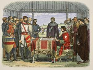 King John Signs the Great Charter, from a Chronicle of England BC 55 to Ad 1485, Pub. London, 1863 by James William Edmund Doyle