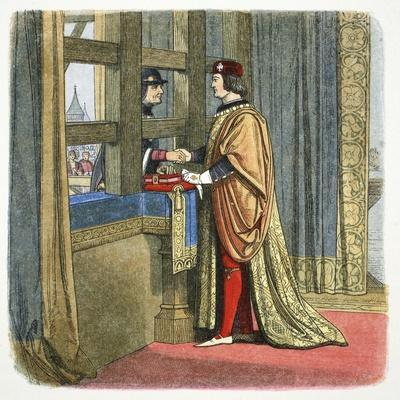 Meeting of Edward IV of England and Louis XI of France at Picquigny, France, 1475 (1864)