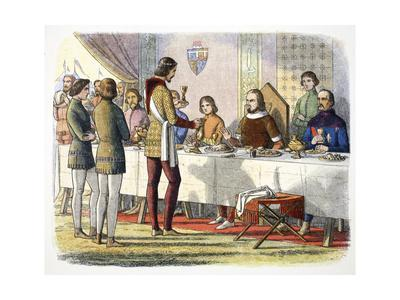 Prince Edward serves John of Artois at table after having defeated him at Poitiers, 1356 (1864)