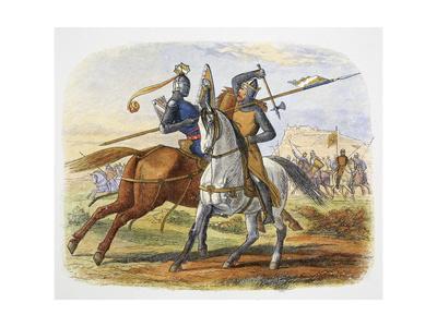 Robert the Bruce kills Sir Henry Bohun, Battle of Bannockburn, Scotland, 1314 (1864)