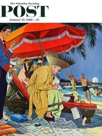 """Business at the Beach,"" Saturday Evening Post Cover, January 23, 1960"