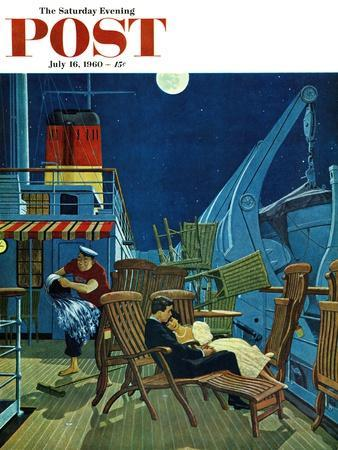 """Romantic Night on Deck,"" Saturday Evening Post Cover, July 16, 1960"