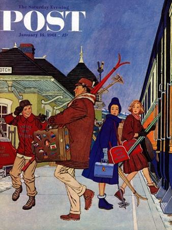 """Wrong Week at the Ski Resort,"" Saturday Evening Post Cover, January 14, 1961"