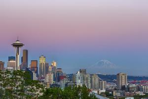 Wa, Seattle, Skyline View from Kerry Park, with Mount Rainier by Jamie And Judy Wild