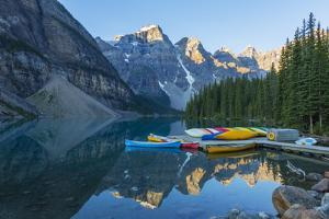 Canada, Banff NP, Valley of the Ten Peaks, Moraine Lake, Canoe Dock by Jamie & Judy Wild