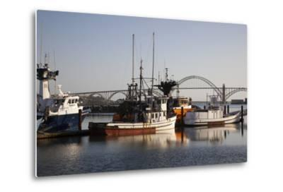Fishing Boats with Yaquina Bay Bridge in Background, Newport, Oregon, USA
