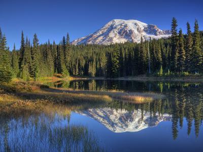 Mt. Rainier Reflected in Reflection Lake, Mt. Rainier National Park, Washington, Usa