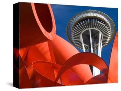Space Needle with Olympic Iliad Sculpture, Seattle Center, Seattle, Washington, USA