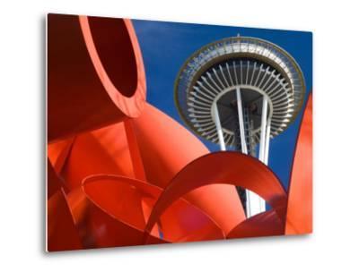 Space Needle with Olympic Iliad Sculpture, Seattle Center, Seattle, Washington, USA