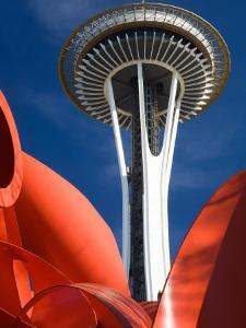 Space Needle with Olympic Iliad Sculpture, Seattle Center, Seattle, Washington, USA by Jamie & Judy Wild