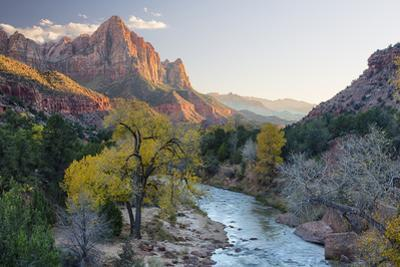 USA, Utah, Zion National Park, Virgin River and the Watchman