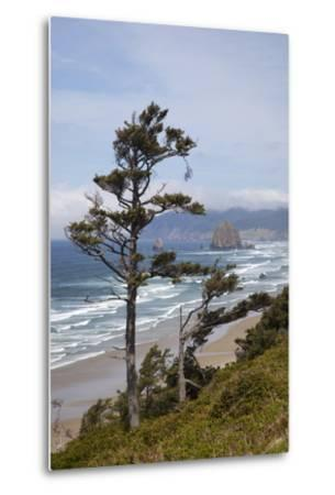 View of Haystack Rock and Cannon Beach, from Highway 101, Oregon, USA