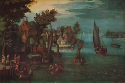 'A Busy River Scene with Dutch Vessels and a Ferry', c1605 by Jan Bruegel The Elder