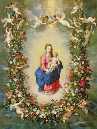The Virgin and Child Encircled by a Garland of Flowers Held Aloft by Cherubs, C.1624
