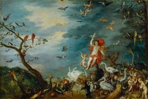 Air-one of four paintings showing the four elements, ordered in 1607 by Cardinal Federico Borromeo. by Jan Brueghel the Elder