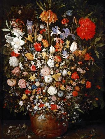 Big Flower Bouquet in a Wooden Vessel
