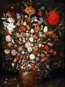 Big Flower Bouquet in a Wooden Vessel by Jan Brueghel the Elder