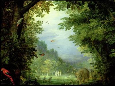 Earth or the Earthly Paradise, Detail of Adam and Eve with God and Other Animals, 1607-08 by Jan Brueghel the Elder