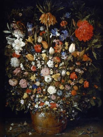 Flowers in a Wooden Vessel by Jan Brueghel the Elder