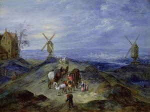Landscape with Two Windmills, 1612 by Jan Brueghel the Elder
