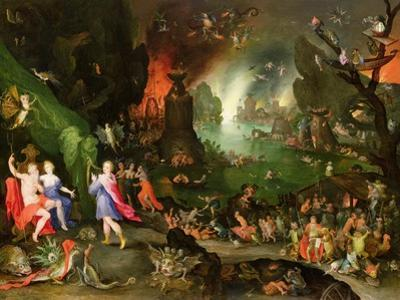 Orpheus with a Harp Playing to Pluto and Persephone in the Underworld by Jan Brueghel the Elder