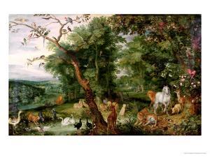 The Garden of Eden, in the Background the Temptation by Jan Brueghel the Elder
