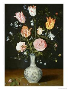 Tulips, Roses, Forget-Me-Nots and Other Flowers in a Late Ming Blue and White Vase by Jan Brueghel the Elder
