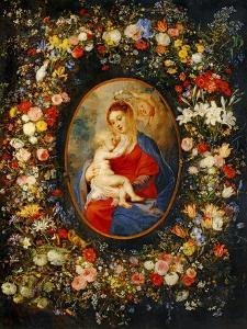 Virgin and Child with Angels Amonst a Garland of Flowers, Medaillon Rubens by Jan Brueghel the Elder