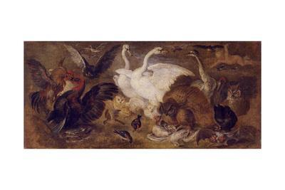 Flying Putto with Birds. Allegory of Air