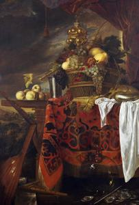 A Basket of Mixed Fruit with Gilt Cup, Silver Chalice, Nautilus, Glass and Peaches on a Plate by Jan Davidsz^ de Heem