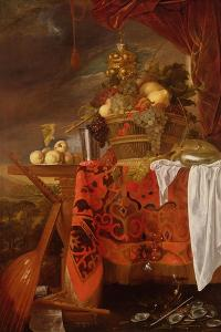 A Basket of Mixed Fruit with Gilt Cup, Silver Chalice, Nautilus, Glass and Peaches on a Plate by Jan Davidsz de Heem