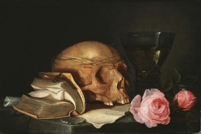 A Vanitas Still Life with a Skull a Book and Roses