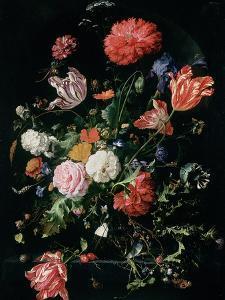 Flowers in a Glass Vase, C.1660 by Jan Davidsz de Heem