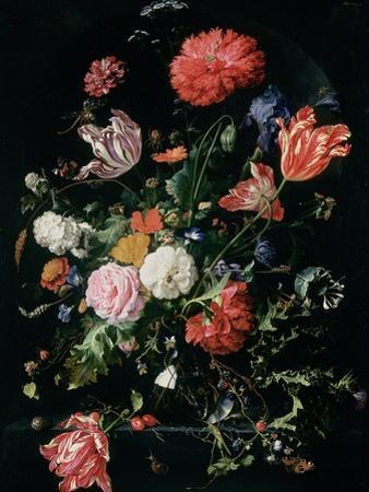 Flowers in a Glass Vase, C.1660 by Jan Davidsz^ de Heem