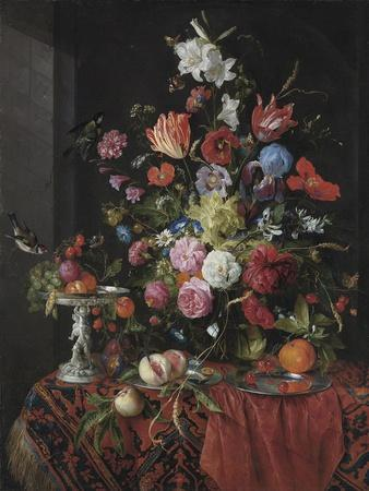 Flowers in a Glass Vase on a Draped Table, with a Silver Tazza, Fruit, Insects and Birds