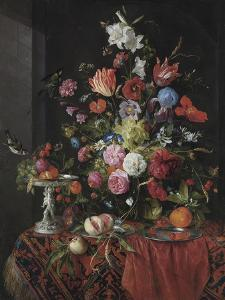 Flowers in a Glass Vase on a Draped Table, with a Silver Tazza, Fruit, Insects and Birds by Jan Davidsz de Heem