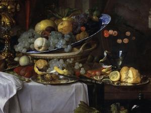 Fruits and Rich Dishes on a Table, 1640, Detail by Jan Davidsz^ de Heem