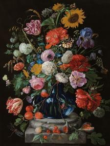 Tulips, a sunflower, an iris and numerous other flowers in a glass vase on marble column base by Jan Davidsz^ de Heem